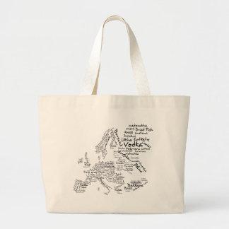 Food Map of Europe Large Tote Bag