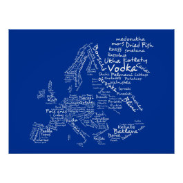 Food Map of Europe (Navy Blue) Poster