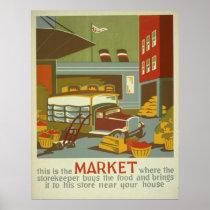 Food Market Farmers Markets WPA Vintage Poster