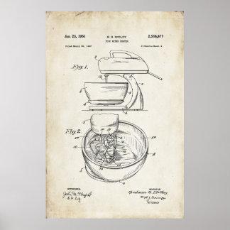 Food Mixer Patent Print Poster 1951