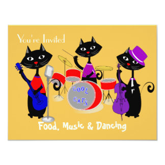 Food Music And Dancing Cool Cats Party Card