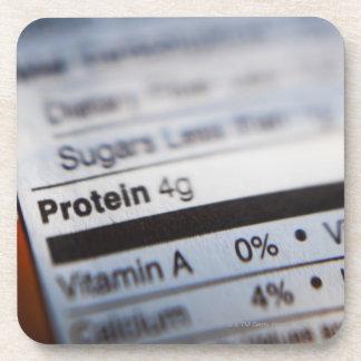 Food nutrition label coaster