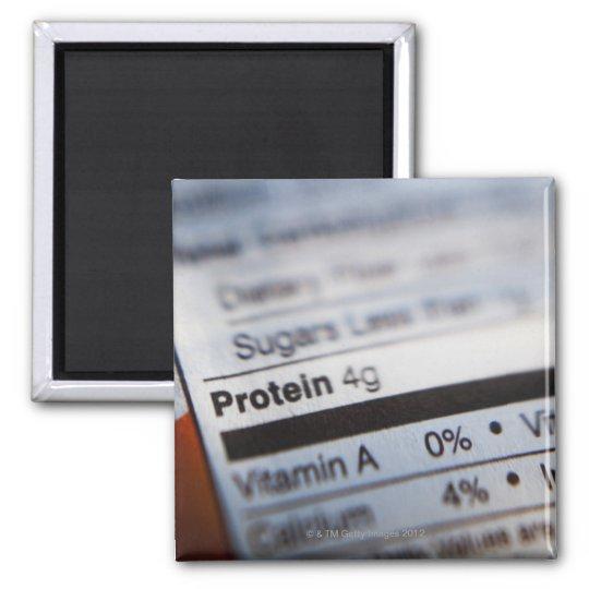 Food nutrition label magnet