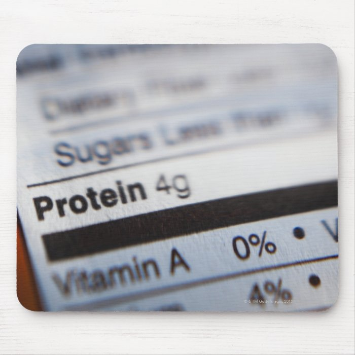 Food nutrition label mouse pad