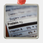 Food nutrition label square metal christmas ornament