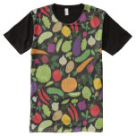 Food on a black background All-Over print t-shirt