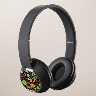 Food on a black background headphones