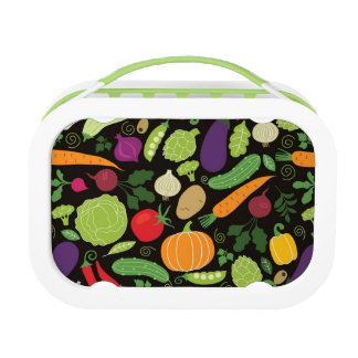 Food on a black background lunch box