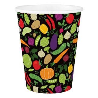 Food on a black background paper cup