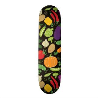 Food on a black background skateboard deck