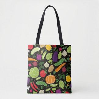 Food on a black background tote bag
