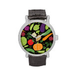 Food on a black background wrist watches