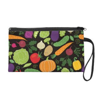 Food on a black background wristlet purse