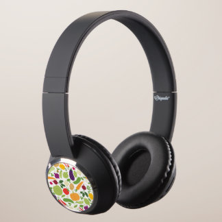 Food on a white background headphones