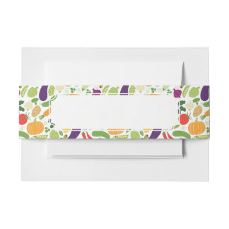 Food on a white background invitation belly band