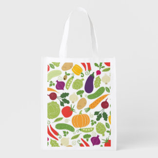 Food on a white background reusable grocery bag