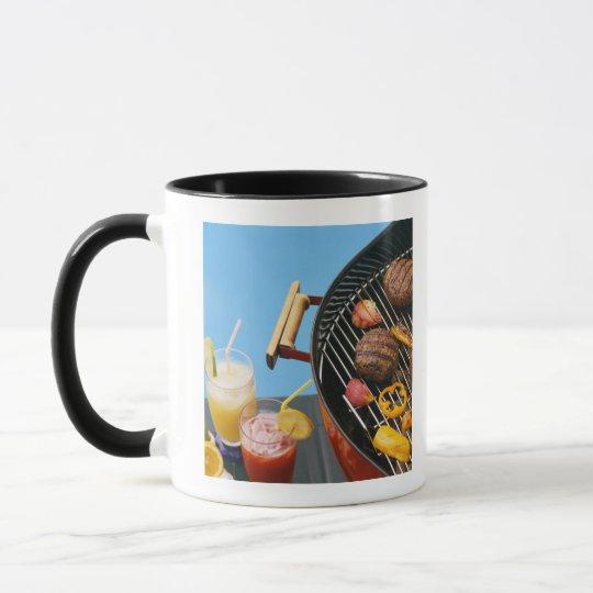 Food on grill mug