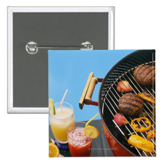 Food on grill pinback button
