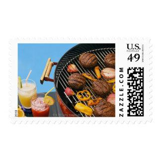 Food on grill postage