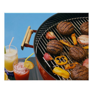 Food on grill poster