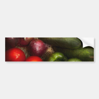 Food - Onions, Tomatoes, Peppers, and Cucumbers Car Bumper Sticker