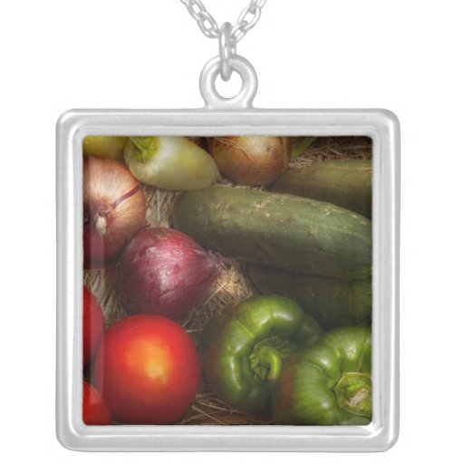Food - Onions, Tomatoes, Peppers, and Cucumbers Square Pendant Necklace