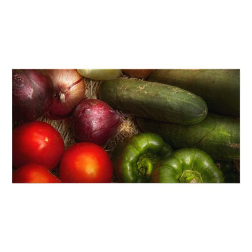 Food - Onions, Tomatoes, Peppers, and Cucumbers Custom Photo Card