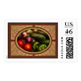 Food - Onions, Tomatoes, Peppers, and Cucumbers Postage Stamp