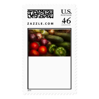 Food - Onions, Tomatoes, Peppers, and Cucumbers Stamp