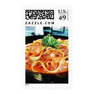 Food Pasta Shrimp Postage Stamp