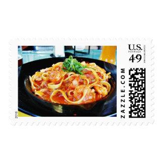 Food Pasta Shrimp Postage Stamps