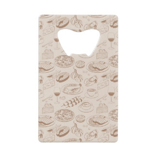 Food Pattern 3 2 Credit Card Bottle Opener