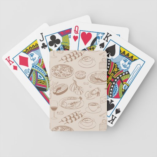 Food Pattern 3 Bicycle Playing Cards
