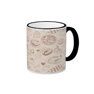 Food Pattern 3 Ringer Coffee Mug