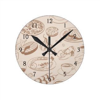 Food Pattern 3 Round Wall Clock