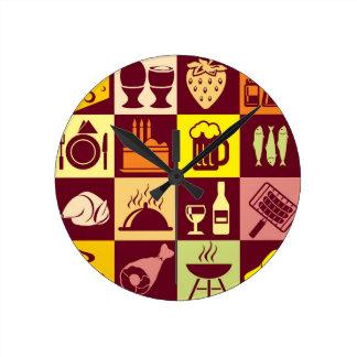Food Pattern Round Clock