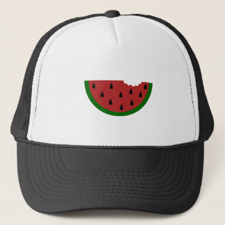 food slice fruit bitten watermelon trucker hat