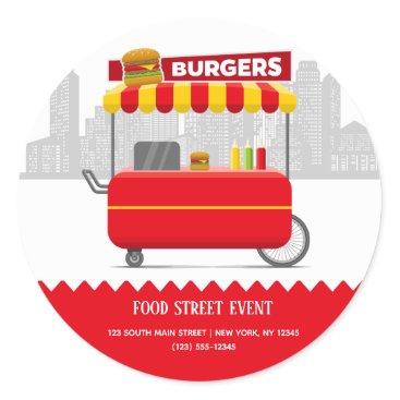 Food street burgers hamburgers classic round sticker