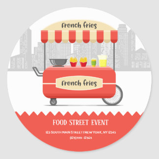 Food street french fries snack classic round sticker