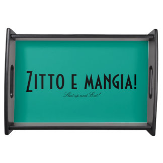 """Food Tray featuring """"Shut up and eat!"""" in Italian."""