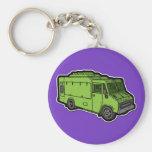 Food Truck: Basic (Green) Basic Round Button Keychain