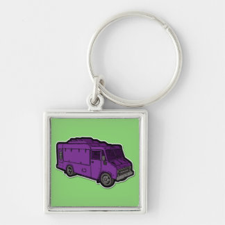 Food Truck: Basic (Purple) Silver-Colored Square Keychain