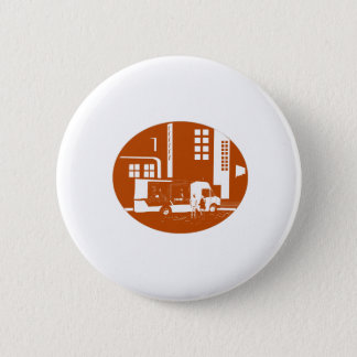 Food Truck City Buildings Oval Woodcut Button