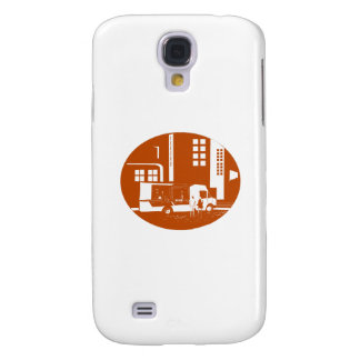 Food Truck City Buildings Oval Woodcut Galaxy S4 Case