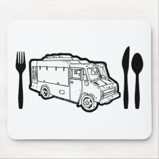 Food Truck Plate & Utensils Mouse Pad