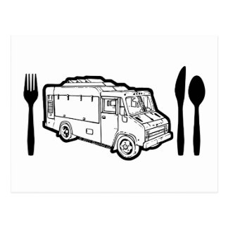 Food Truck Plate & Utensils Post Cards