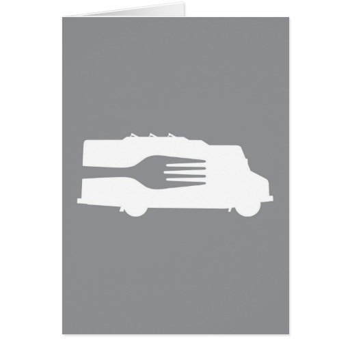 Food Truck: Side/Fork (Gray) Greeting Card