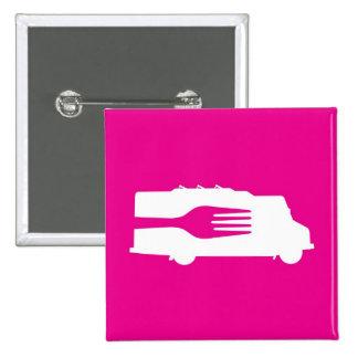 Food Truck: Side/Fork (Pink) Pinback Button