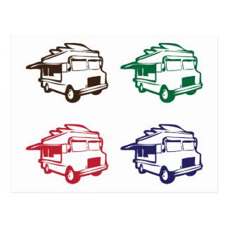 Food Trucks Four Color Design Postcard