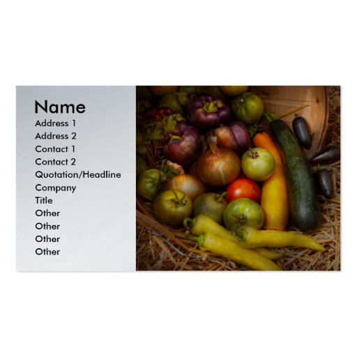 Food - Vegetables - Very early harvest Business Card